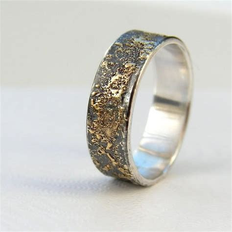 gold chaos rustic mens wedding ring  kt gold