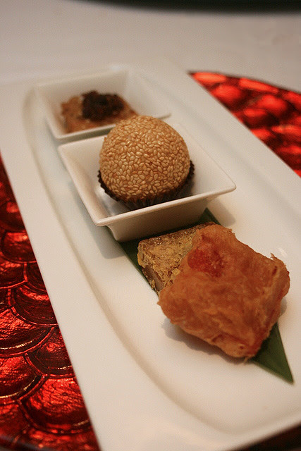 From top: Xin's radish cake with waxed meat, glutinous rice ball, nian gao - chrysanthemum, and coconut flavours
