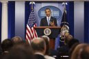 U.S. President Obama talks to the media in the Brady Press Briefing Room at the White House in Washington