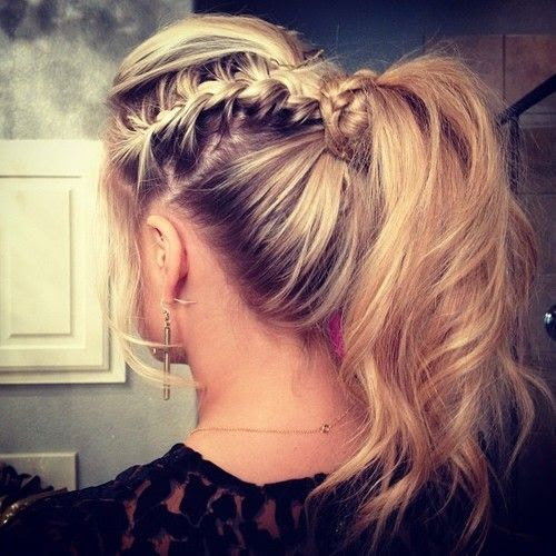This really pretty braid...I have done these on few ppl, its just bump in the front with french braid on the side,the wraped around your pony. many ways make very pretty formal updo too. <3