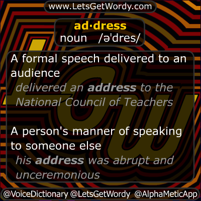Address 11/19/2012 GFX Definition of the Day