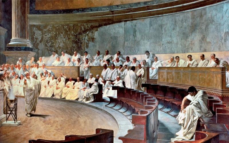 <p>El cuadro<em> Cicerón denuncia a Catilina,</em>Cesare Maccaria.</p>
