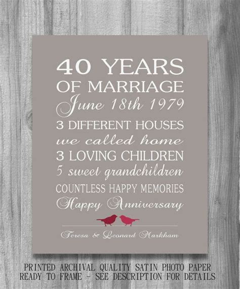 4Oth Wedding Anniversary Gift RUBY Personalized Birds