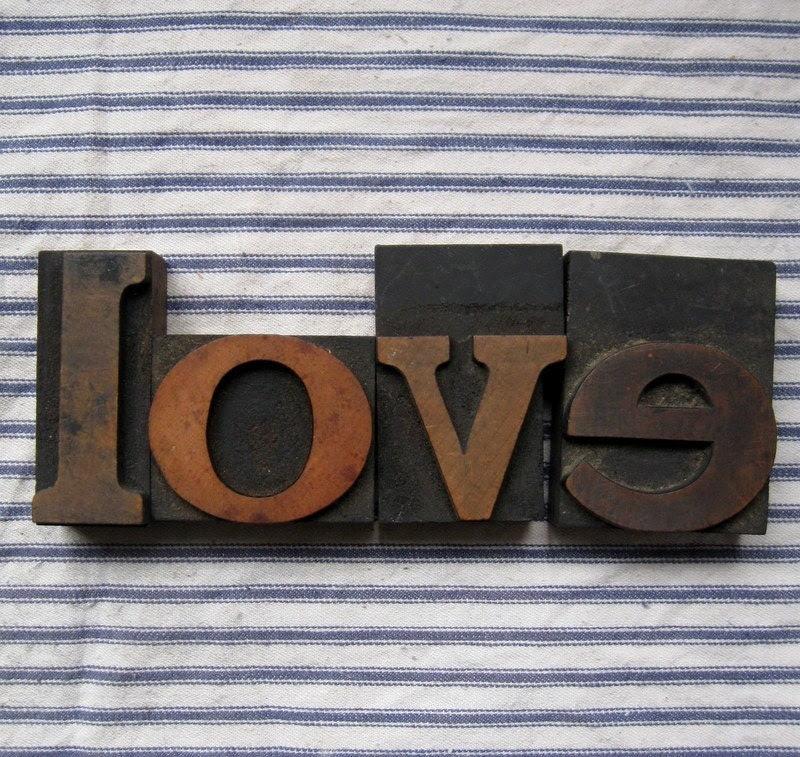 Antique Wooden letterpress print blocks love set3