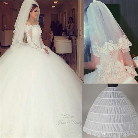 Cheap Ball Gown Wedding Dresses With Long Sleeves And Veil