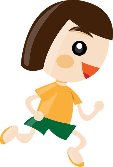 vector graphic girl running cartoon female