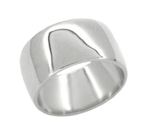 Men's 10 mm Wedding Band Ring in 14 Karat White Gold