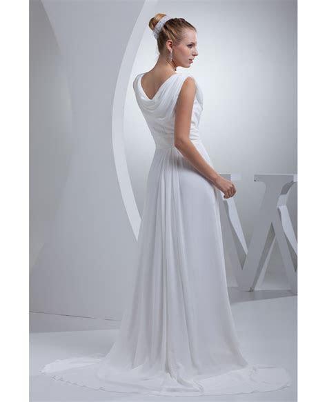 Modest Long Chiffon A line Wedding Dress Custom #OP4422