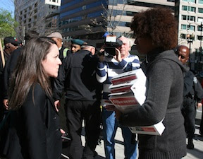 MoveOn member Maria Roach delivering a petition for justice for Trayvon Martin to the U.S. Department of Justice in Washington, D.C.