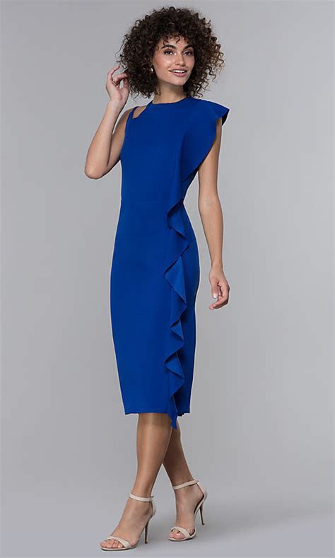 Midi Length Royal Blue Wedding Guest Dress with Ruffle