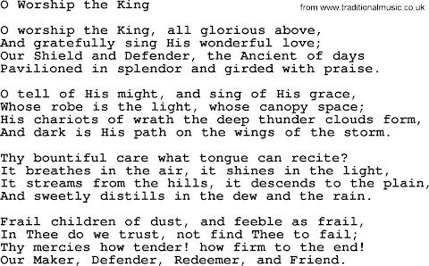 O Worship The King Lyrics Baptist Hymnal