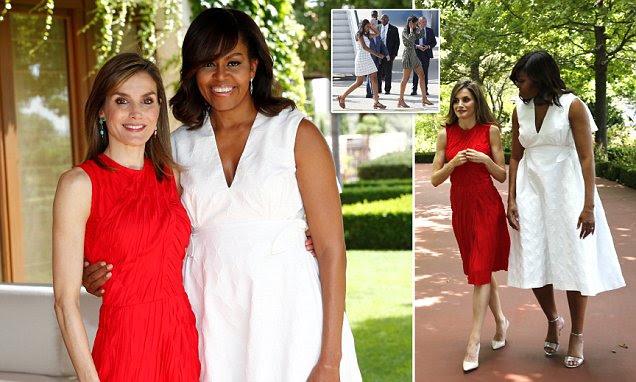 Michelle Obama encontra Rainha Letizia de Espanha em Madrid