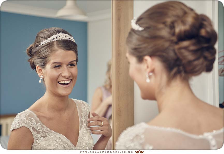 Bride in mirror, Suffolk - www.helloromance.co.uk