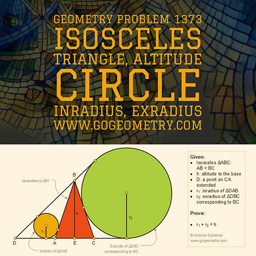 Geometric Art Typography of Geometry Problem 1373: Isosceles Triangle, Exterior Cevian, Inradius, Exradius, Altitude, iPad Apps.