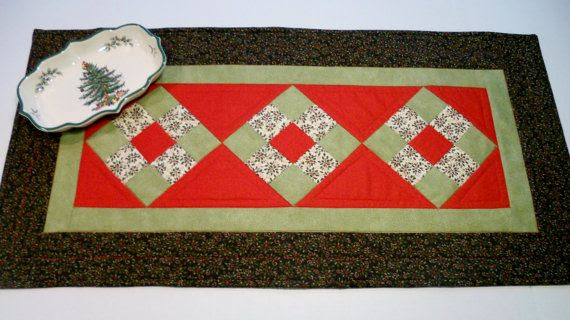 Modern Christmas Quilted Table Runner Nine by ForgetMeNotQuilteds, $32.00