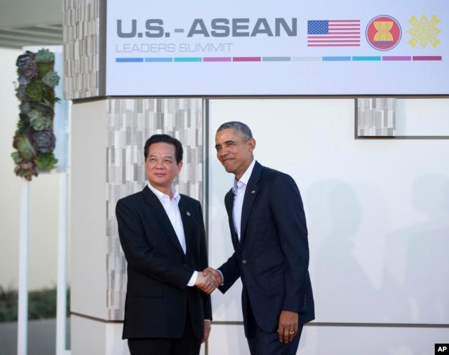 Tổng thống Obama đón tiếp Thủ tướng Việt Nam Nguyễn Tấn Dũng tại hội nghị 10 nước ASEAN tại Sunnylands, ngày 15/2/2016.