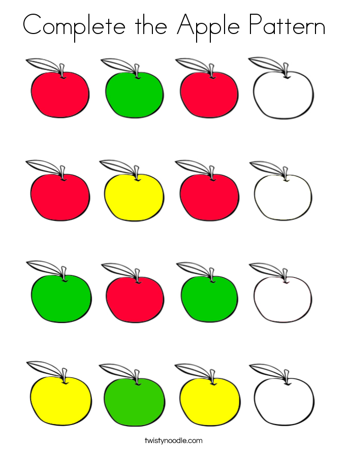 complete the apple pattern_coloring_page