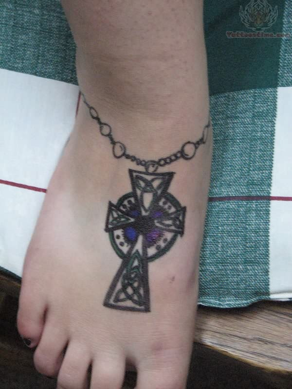 Women Foot Rosary Cross Tattoos Picture 10