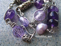 close up Wire wrapped bracelet - purple themed