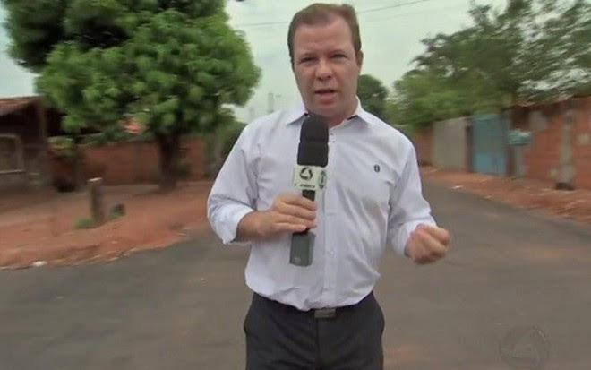 O repórter Alex Barbosa, da afiliada da TV Globo em Mato Grosso, a TV Centro América - Reprodução/TV Centro América
