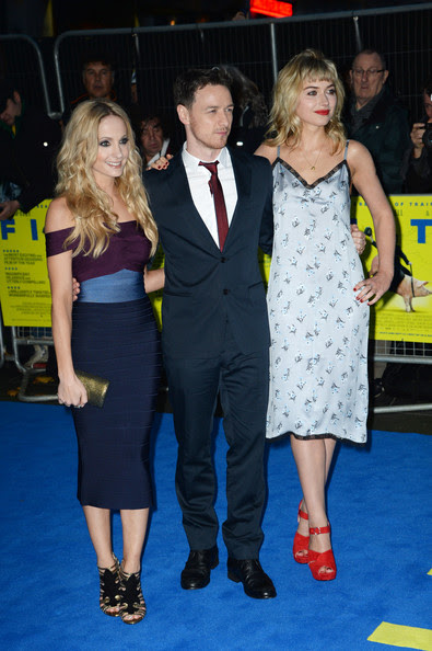 (L-R) Imogen Poots, James McAvoy and Joanne Froggatt attend the London premiere of 'Filth' at The Odeon Leicester Square on September 30, 2013 in London, England.