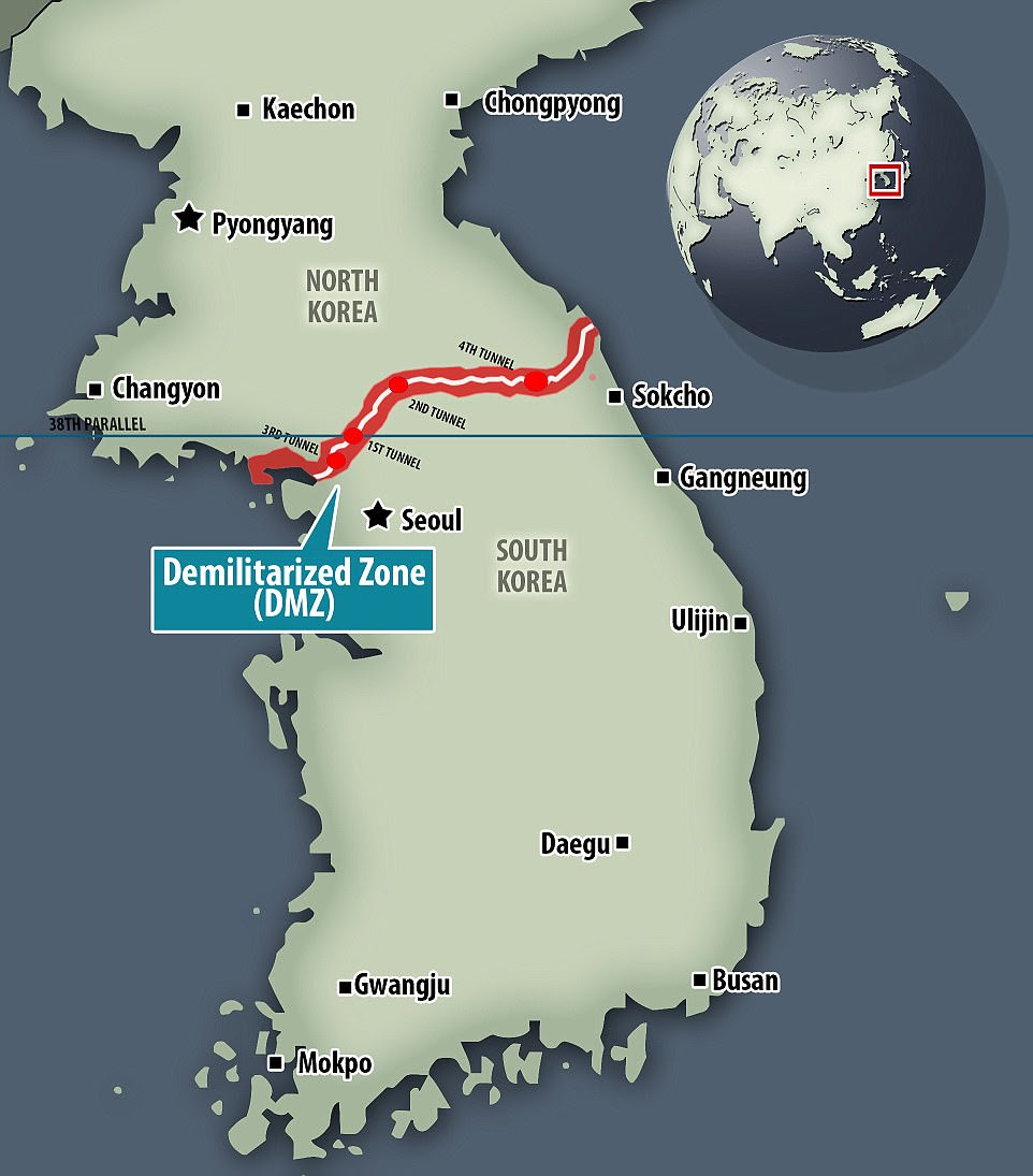 Measuring 150 miles long, the Demilitarized Zone (DMZ) became the de facto border that separates North and South Korea following the end of the Korean War in 1953