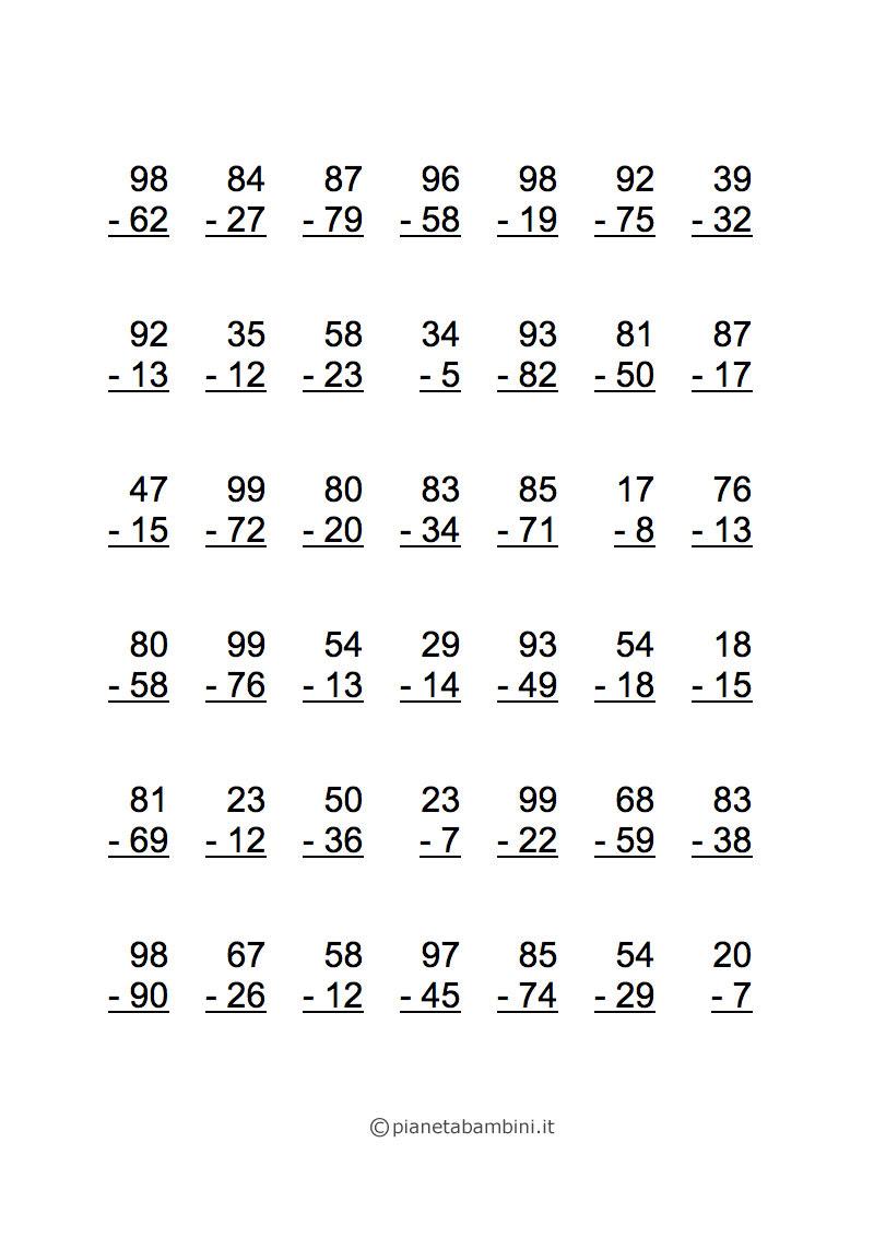 Esercizi di Matematica: Sottrazioni per Scuola Elementare ...