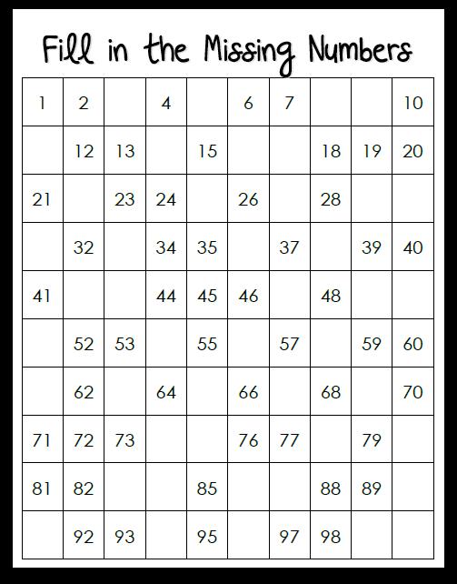 Missing Number Worksheet New 41 Missing Number 100 Square