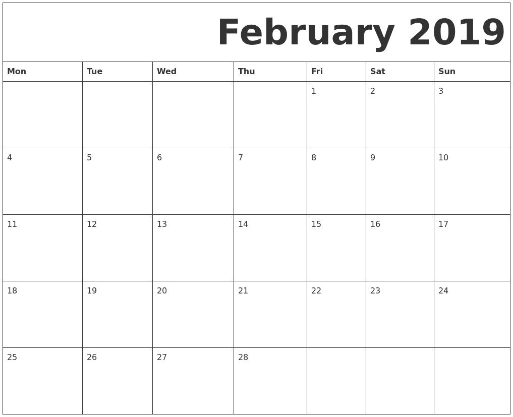 february 2019 free printable calendar monday start