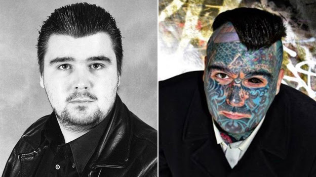Two photos show Body Art before and after he had his face covered in tattoos