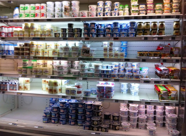 Cream section at the grocery store.