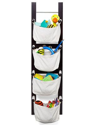 Hanging Toy Storage. Smart! This will fit so much better than anything else in my baby's room