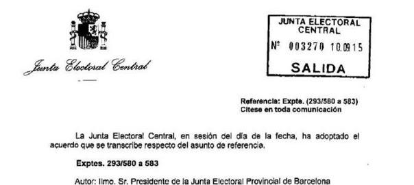 resolució de la junta electoral espanyola