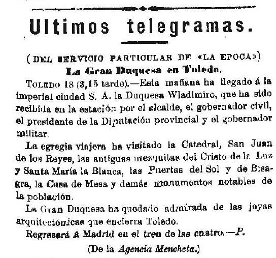 Noticia de la visita de la Duquesa Wladimiro a Toledo el día 18 de octubre de 1893 en el diario La Época