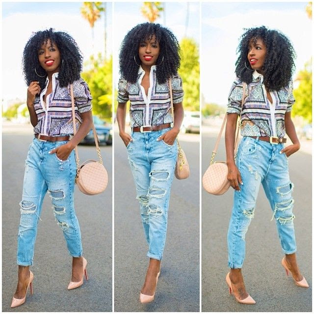 Printed Top + High Waist Jeans
