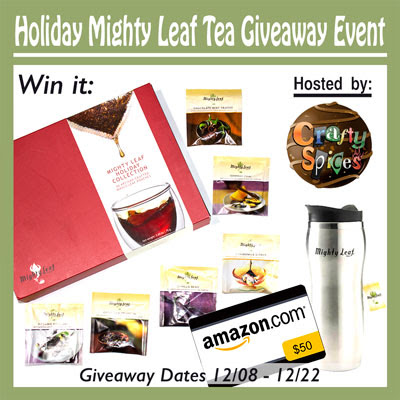 Enter the Holiday Mighty Leaf Tea & Amazon GC Giveaway. Ends 12/22