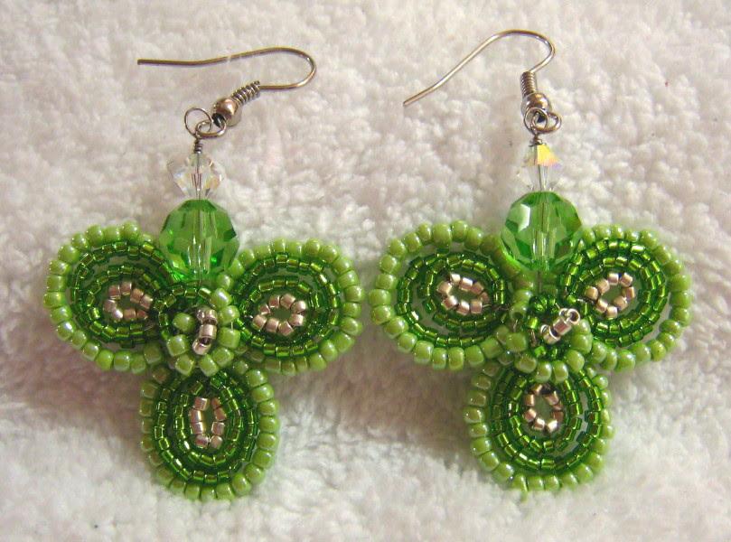 Wire Wrapped Beaded Flower Earrings