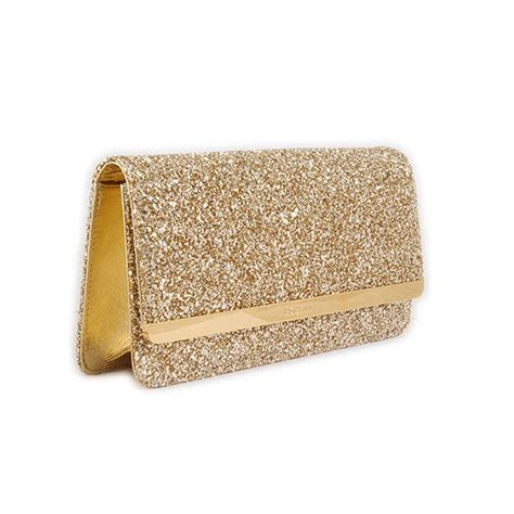 Gold Glitter Evening Bag Clutch Bag Side View   Fancy Bags