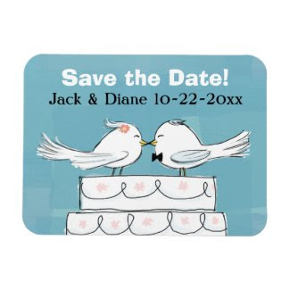 Love Birds Save the Date Flexible Magnet premiumfleximagnet