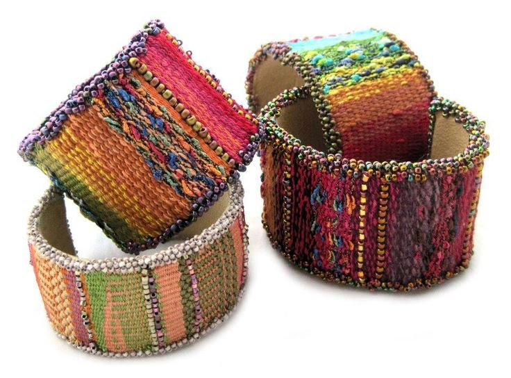 (5) Name: 'Jewelry : Mirrix Tapestry/Bead Cuff Bracelet