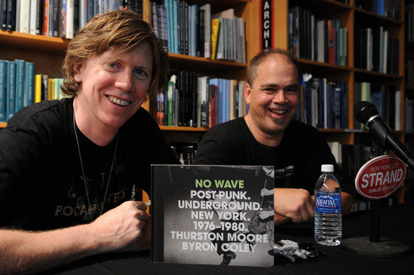 Thurston Moore Musicians and writers Thurston Moore and  Byron Coley appear at Strand book store on July 30, 2008 in New York  City.