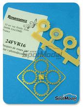 Detalle 1/24 Renaissance Models - Aireadores para llantas de 16 pulgadas - Flasques for 16 inches rims - resinas + fotograbados - 4 unidades