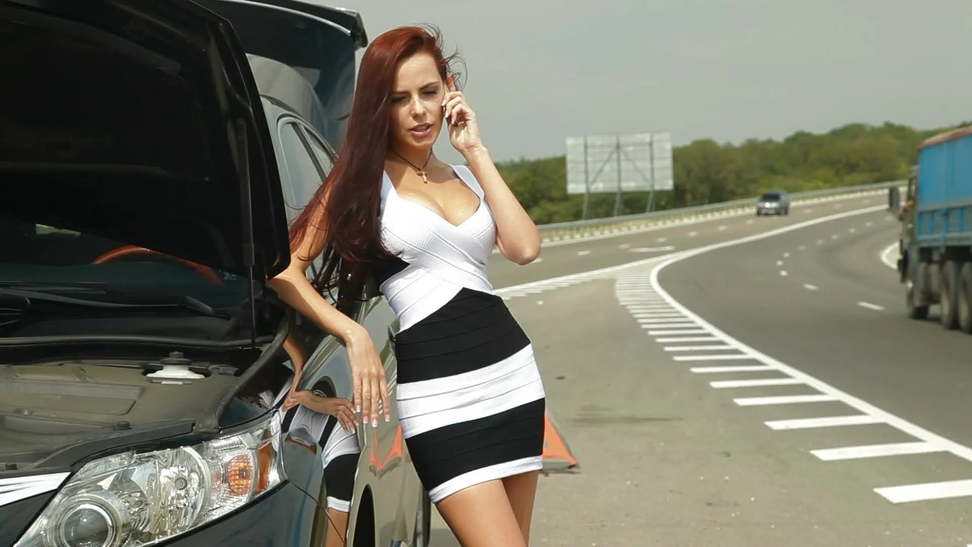 Image result for picture of a lady going to work with car broken down