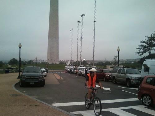 Washington Monument & news crews