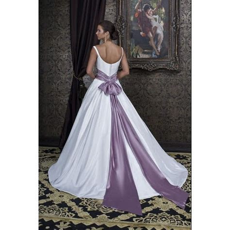 Sweetheart Neckline White And Purple Beaded Wedding Gowns