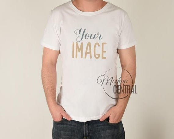 Blank White Mans T-Shirt Apparel Mockup Fashion Design