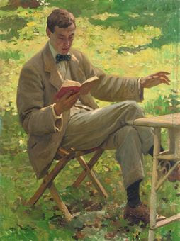 A young Alfred Munnings reading aloud outside ...