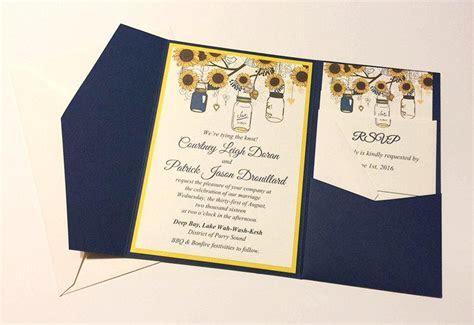 Sunflower Wedding Invitation Pocketfold Set   Mason Jar