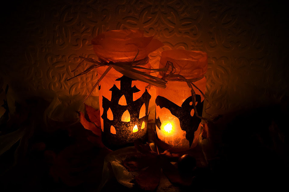 candles in Halloween holders