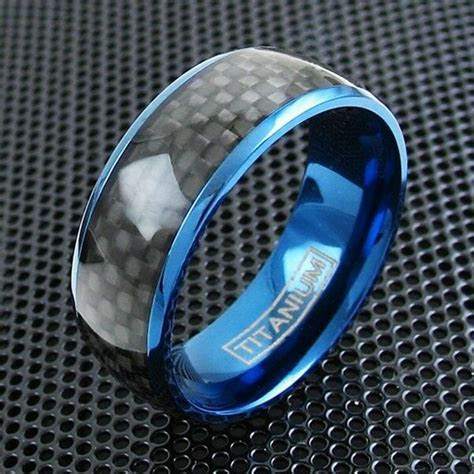 8mm Blue Titanium Men's Ring Black Carbon Fiber Wedding
